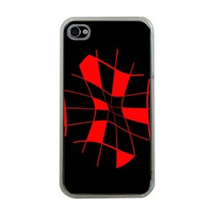 Red abstract flower Apple iPhone 4 Case (Clear)