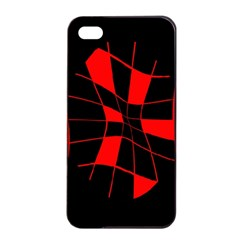 Red abstract flower Apple iPhone 4/4s Seamless Case (Black)