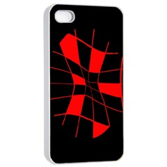 Red abstract flower Apple iPhone 4/4s Seamless Case (White)