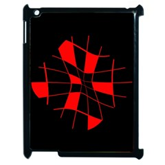 Red abstract flower Apple iPad 2 Case (Black)