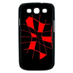 Red abstract flower Samsung Galaxy S III Case (Black)