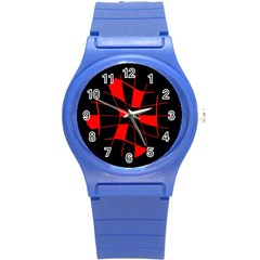 Red abstract flower Round Plastic Sport Watch (S)