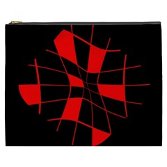 Red abstract flower Cosmetic Bag (XXXL)