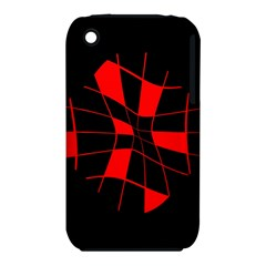 Red abstract flower Apple iPhone 3G/3GS Hardshell Case (PC+Silicone)