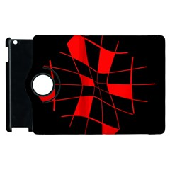Red abstract flower Apple iPad 2 Flip 360 Case