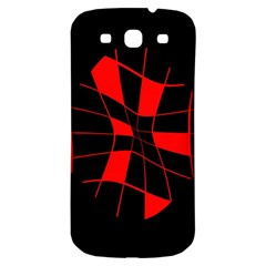 Red abstract flower Samsung Galaxy S3 S III Classic Hardshell Back Case