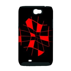 Red abstract flower Samsung Galaxy Note 2 Hardshell Case (PC+Silicone)