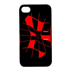 Red abstract flower Apple iPhone 4/4S Hardshell Case with Stand