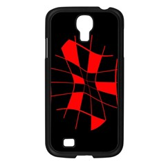 Red abstract flower Samsung Galaxy S4 I9500/ I9505 Case (Black)