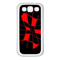 Red abstract flower Samsung Galaxy S3 Back Case (White)