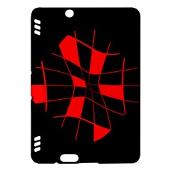 Red abstract flower Kindle Fire HDX Hardshell Case