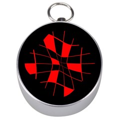 Red abstract flower Silver Compasses