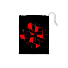 Red abstract flower Drawstring Pouches (Small)