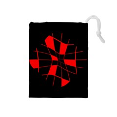 Red abstract flower Drawstring Pouches (Medium)