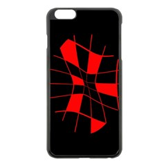 Red abstract flower Apple iPhone 6 Plus/6S Plus Black Enamel Case