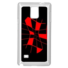 Red abstract flower Samsung Galaxy Note 4 Case (White)