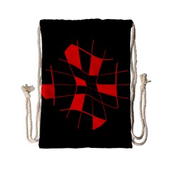 Red abstract flower Drawstring Bag (Small)
