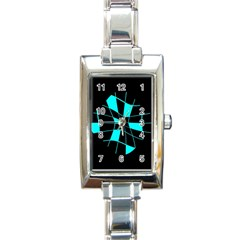 Blue abstract flower Rectangle Italian Charm Watch