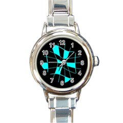Blue abstract flower Round Italian Charm Watch