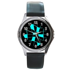 Blue abstract flower Round Metal Watch