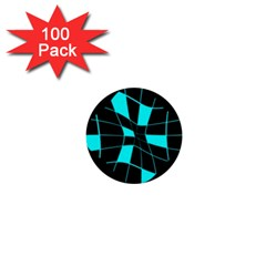 Blue abstract flower 1  Mini Buttons (100 pack)
