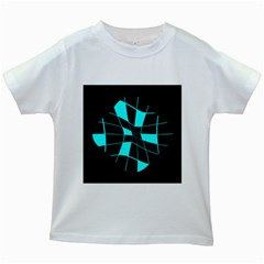 Blue abstract flower Kids White T-Shirts