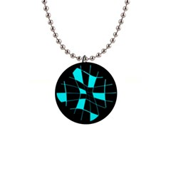 Blue abstract flower Button Necklaces