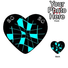 Blue abstract flower Playing Cards 54 (Heart)