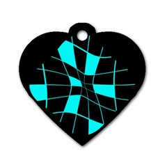 Blue abstract flower Dog Tag Heart (One Side)
