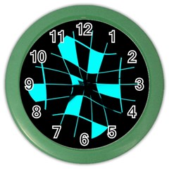 Blue abstract flower Color Wall Clocks