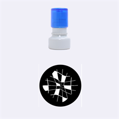 Blue Abstract Flower Rubber Round Stamps (small)