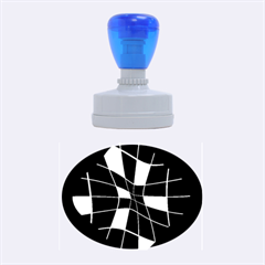 Blue abstract flower Rubber Oval Stamps