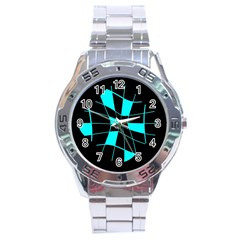 Blue abstract flower Stainless Steel Analogue Watch