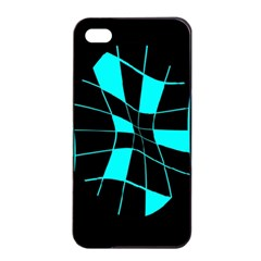 Blue abstract flower Apple iPhone 4/4s Seamless Case (Black)
