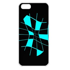 Blue abstract flower Apple iPhone 5 Seamless Case (White)