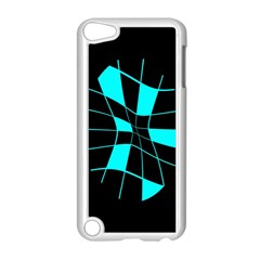 Blue abstract flower Apple iPod Touch 5 Case (White)