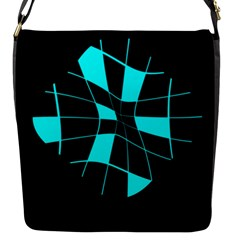 Blue abstract flower Flap Messenger Bag (S)