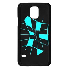 Blue Abstract Flower Samsung Galaxy S5 Case (black)