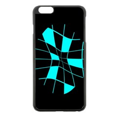 Blue abstract flower Apple iPhone 6 Plus/6S Plus Black Enamel Case