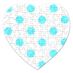 Polka Dots - Electric Blue on White Jigsaw Puzzle (Heart)