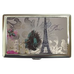 Floral Vintage Paris Eiffel Tower Art Cigarette Money Case