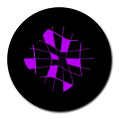 Purple abstract flower Round Mousepads