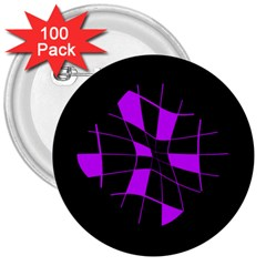 Purple abstract flower 3  Buttons (100 pack)