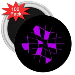 Purple abstract flower 3  Magnets (100 pack)