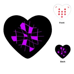 Purple abstract flower Playing Cards (Heart)