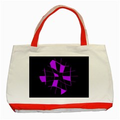 Purple abstract flower Classic Tote Bag (Red)