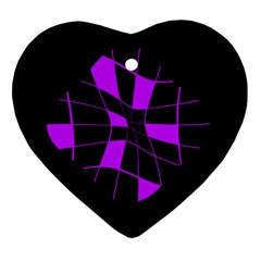 Purple abstract flower Heart Ornament (2 Sides)