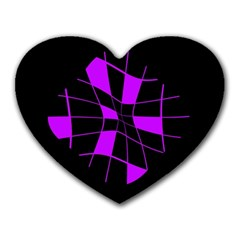 Purple abstract flower Heart Mousepads