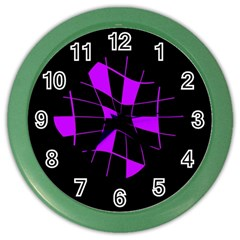 Purple abstract flower Color Wall Clocks