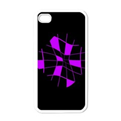 Purple abstract flower Apple iPhone 4 Case (White)